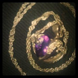 Amnethyst gem heart necklace